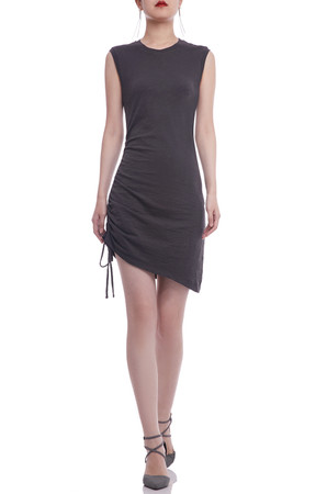 ROUND NECK WITH DRAWSTRING ON THE SIDE TANK DRESS BAN2106-0367