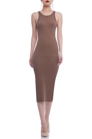 OVAL NECK MID-CALF PENCIL DRESS BAN2106-0368