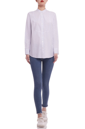 ROUND NECK WITH BUTTON DOWN FRONT AND ROLL UP SLEEVE SHIRT TOP BAN2104-0891