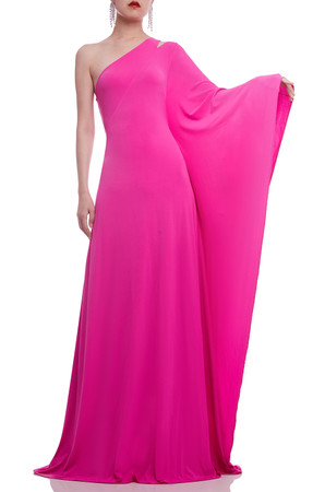 ASYMETRICAL NECK WITH ONE SHOULDER AND ONE SLEEVE FLOOR LENGTH DRESS BAN2104-0981