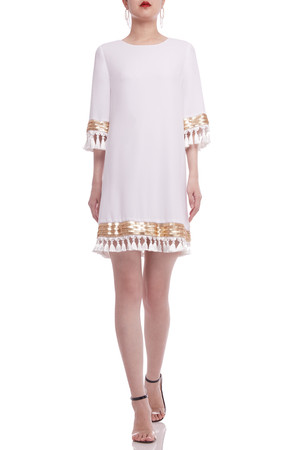 BOAT NECK WITH FRINGE AND KEY HOLE BACK ABOVE THE KNEE A-LINE DRESS BAN2101-0082