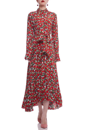 BUTTON DOWN BELTED WITH ASYMETRICAL HEM DRESS BAN2105-0464