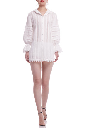 BUTTON DOWN WITH POET SLEEVE SHIRT DRESS BAN2105-0209