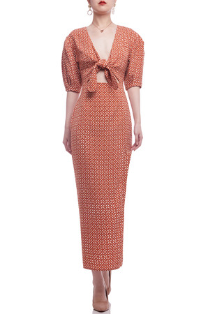 TIE FRONT WITH PUFF SLEEVE AND SLIT ASIDE ANKLE LENGTH DRESS BAN2105-0175