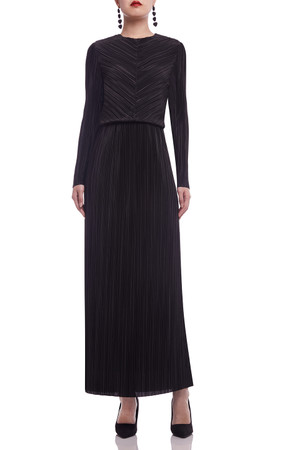 ROUND NECK PLEATED ANKLE LENGTH DRESS BAN2106-0344