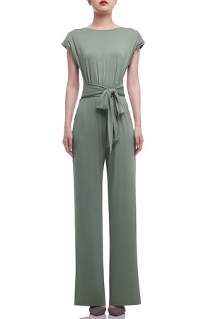 SCOOP NECK WITH SHOULDER PAD AND BELTED JUMPSUITS BAN2104-0389