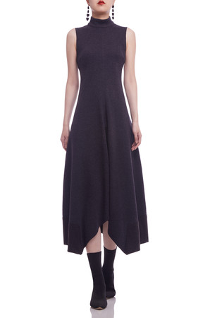 HIGH NECK WITH ASYMEETRICAL HEM ANKLE LENGTH DRESS BAN2106-0356