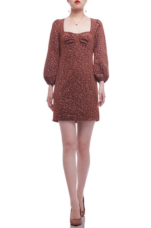 SQUARE NECK WITH BOUFFANT SLEEVE A-LINE DRESS BAN2105-0562