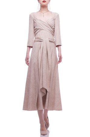 DIAMOND NECK WITH TIE ON THE WAIST ANKLE LENGTH DRESS BAN2106-0454