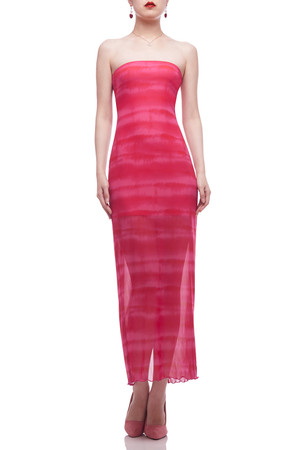 STRAPLESS WITH SLIT ON THE BACK BELOW THE KNEE DRESS BAN2101-0388