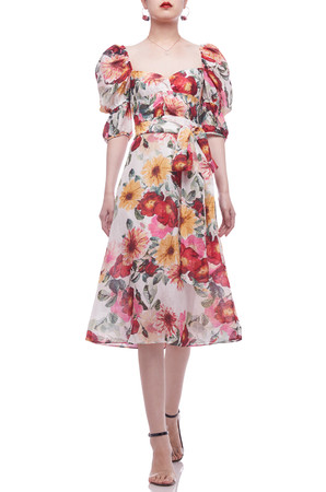 DIAMOND NECK WITH BALLOON SLEEVE BELTED MID-CALF DRESS BAN2104-0951
