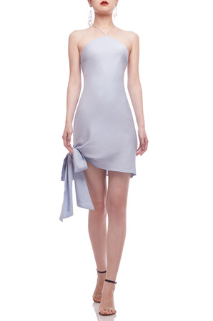 CAMISOLE WITH CROSS ON THE BACK AND TIE ON THE SIDE ASYMETRICAL HEM DRESS BAN2103-0209