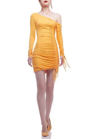 ONE SHOULDER WITH DRAWSTRING ASIDE TEE DRESS BAN2012-0401