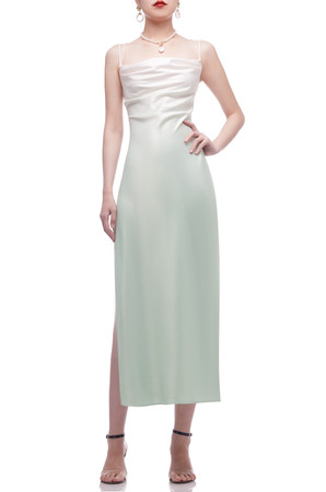 CAMISOLE WITH CROSS ON THE BACK AND SLIT ON THE SIDE ANKLE LENGTH DRESS BAN2103-0100