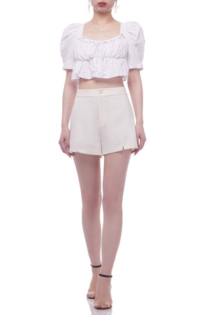 SQUARE NECK WITH TIE ON THE BACK AND PUFF SLEEVE CROPPED TOP BAN2103-0976