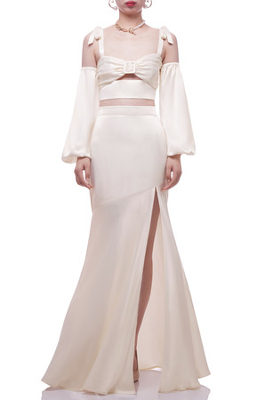 HIGH WAISTED WITH SLIT ASIDE TRUMPET SKIRT BAN2105-0551