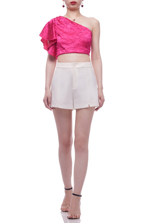 ONE SHOULDER WITH FLARED SLEEVE CROPPED TOP BAN2106-0036