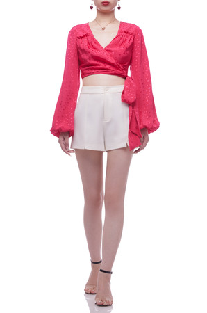 SURPLICE NECK WITH BOUFFANT SLEEVE CROPPED TOP BAN2106-0681