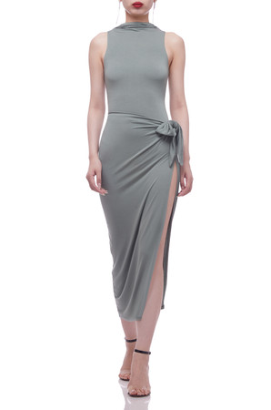 TIE ON THE SIDE BELOW THE KNEE WRAP SKIRT BAN2104-0974-S
