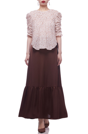 ROUND NECK WITH KEYHOLE BACK AND GIGOT SLEEVE TOP BAN2106-0016