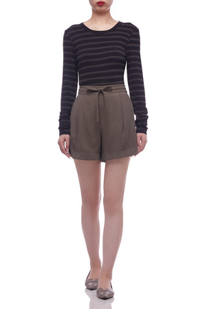 HIGH WAISTED WITH DRAWSTRING ON THE WAIST SHORTS BAN2102-0101