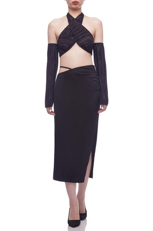 NORMAL WAISTED WITH SLIT ON THE SIDE MID-CALF SKIRT BAN2104-0298