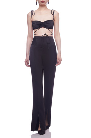 HIGH WAISTED WITH SLIT FRONT FULL LENGTH PANTS BAN2105-0270