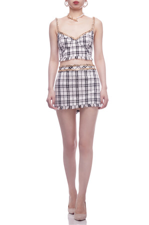 ZIP UP BACK BUSTIER CROPPED STRAP TOP BAN2106-0022