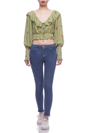 V-NECK WITH TIE ON THE BCK CROPPED TOP BAN2105-0038