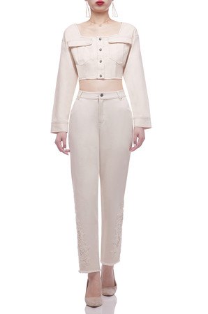 SQUARE WITH BUTTON DOWN FRONT CROPPED JACKET BAN2103-0916