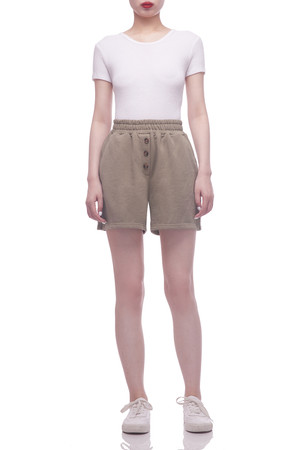 HIGH WAISTED WITH BUTTON EMBLLISHED SHORT BAN2104-0517
