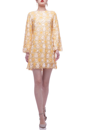 ROUND NECK WITH KEY HOLE BACK AND BELL SLEEVE DRESS BAN2103-0807