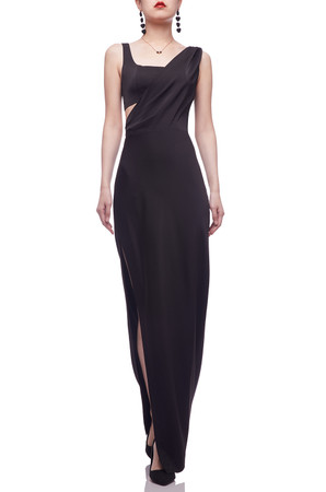 ASYMETRICAL NECK WITH HIGH SLIT ON THE SIDE FLOOR LENGTH DRESS BAN2103-0161