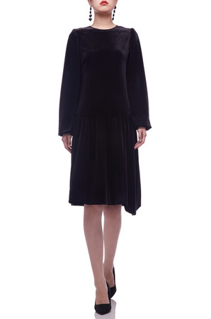 ROUND NECK WITH TIE ON THE BACK AND BOUFFANT SLEEVE DRESS BAN2107-0166