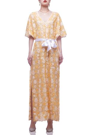 V-NECK ANKLE LENGTH BELTED DRESS BAN2101-0480-Y