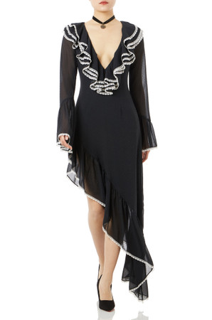 ASYMETRICAL DEEP V-NECK FALBALA DRESSES P1802-0155-W