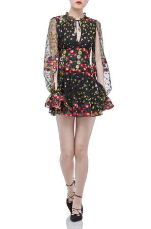 BLACK FLORAL LONG SLEEVE MINI DRESSES DRESSES P1710-0101