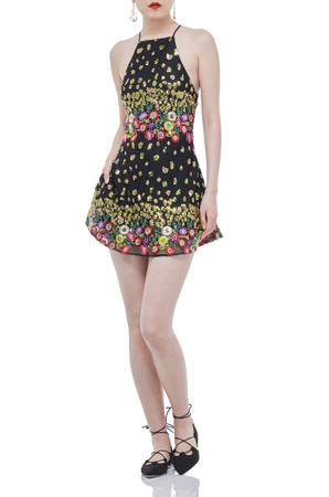 BLACK FLORAL MINI STRAP SLEEVELESS DRESS P1710-0137