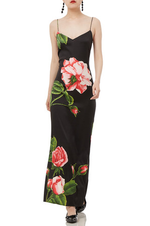 BLACK  FLORAL MAXI SLEEVELESS STRAP DRESS PS1905-0023