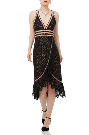BLACK LACE MIDI SLEEVELESS DRESS P1706-0178