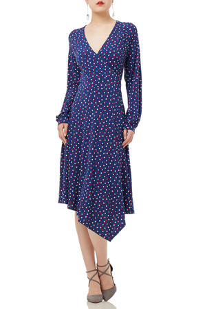 BLUE MIDI LONG SLEEVE POLKA DOTS DRESSES P1903-0177