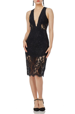 BLACK  LACE MIDI SLEEVELESS DRESS P1906-0338