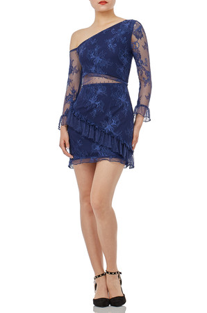 BLUE LACE MINI 3/4 SLEEVE DRESSES P1811-0014