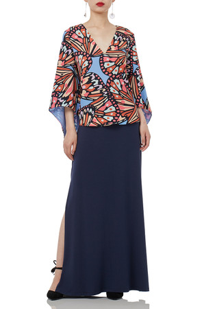 3/4 SLEEVE MIDI PRINTED INSECT TOPS P1809-0211