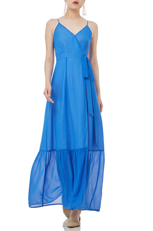 BLUE MAXI SLEEVELESS STRAP  DRESS P1811-0100-PB