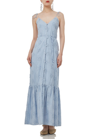 BLUE MAXI SLEEVELESS STRAP  DRESS P1811-0125