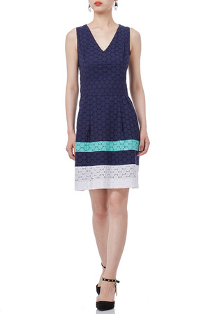 BLUE MIDI SLEEVELESS V-SHAPED CREW DRESS P1810-0566