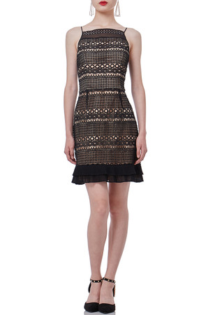 BLACK  LACE  MINI SLEEVELESS STRAP DRESS P1901-0051