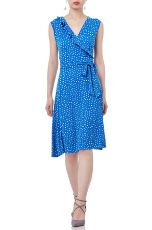 BLUE MIDI KNIT POLKA DOTS SLEEVELESS DRESS P1901-0079