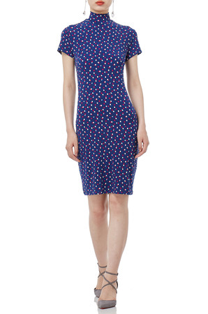 BLUE MIDI SHORT SLEEVE POLKA DOTS DRESSES PS1811-0094